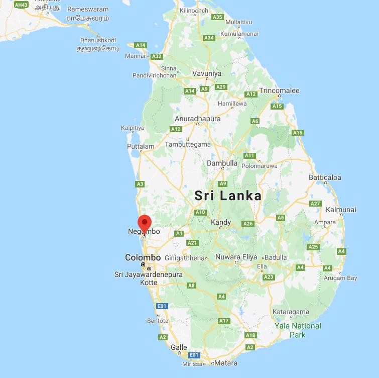 map where duotone kites are made in sri lanka